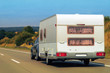 Caravan on road at Switzerland
