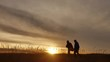 people go group travel of tourists field nature of a sunset silhouette two travel people lifestyle. tourists nature people group go