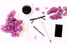 Workplace With Mobile Phone Notebook Pen Pencil Glasses Lilac Flowers