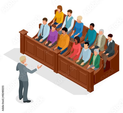 Isometric symbol of law and justice in the courtroom Fototapeta