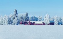 Cottage In Winter Countryside ...