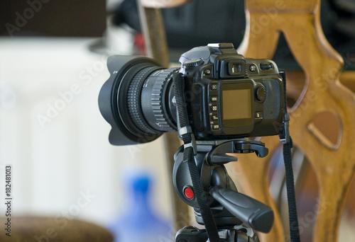 Digital Single Lens Reflex Mounted On Tripod #182481013
