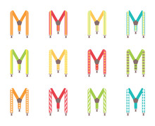 A Set Of Men's Suspenders. Suspenders Vector Illustration