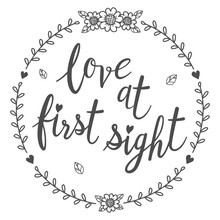 Love At First Sight Calligraphy Isolated Qoutes.