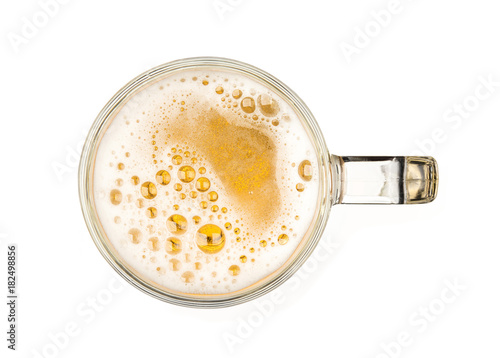 Canvas Prints Beer / Cider Mug of beer with bubble on glass isolated on white background top view