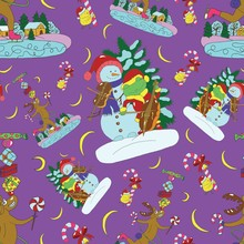 Seamless Pattern With Singing Snowman, Forg And Deer With Gifts. Christmas And New Year Background For Greeting Cards, Posters, Invitations