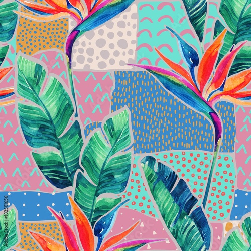 Fotobehang Grafische Prints Watercolor tropical flowers on geometric background with doodles.