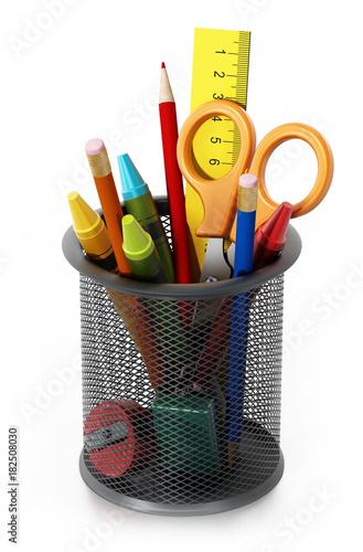 Fotografie, Obraz  Metal pencil holder with school supplies. 3D illustration