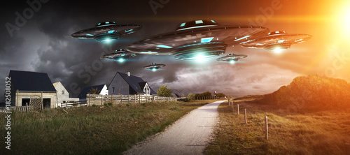 Wall Murals UFO UFO invasion on planet earth landascape 3D rendering