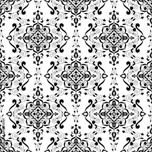 Baroque Floral Pattern Vector Seamless Monochrome Victorian Background Texture Vintage Flower Ornament Design For