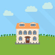 Lone two-storey house in a field with an green tree. Vector illustration.