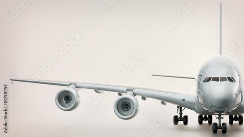 In de dag Vliegtuig Front of plane. 3d rendering and illustration.