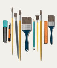 Set Of Paint Brush On White Background. Different Models Of Brushes For Painting Isolated. Flat Vector Design.