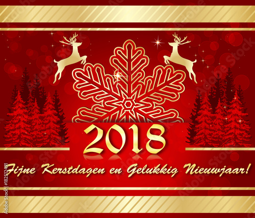 merry christmas and a happy new year 2018 written in dutch corporate greeting card