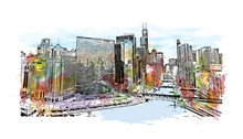 Watercolor Splash With Sketch Illustration Of DuSable Bridge At Twilight, Chicago. In Vector.