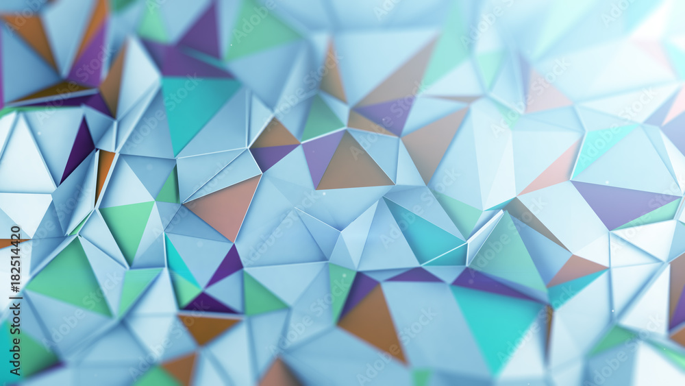 Fototapety, obrazy: Mutlicolor low poly 3D surface abstract render