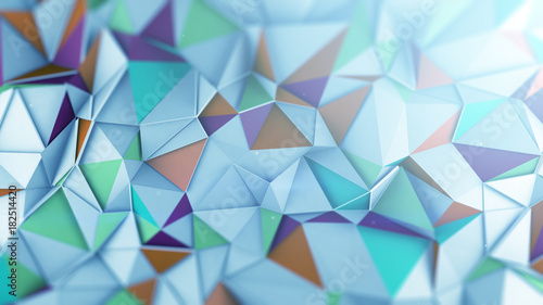 Fotografering  Mutlicolor low poly 3D surface abstract render