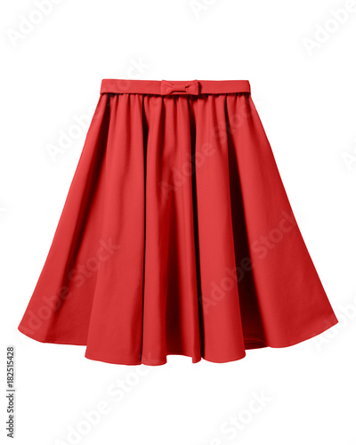 Red elegant skirt with ribbon bow isolated on white Wall mural