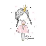 Cute little princess girl. Fashion illustration for kids