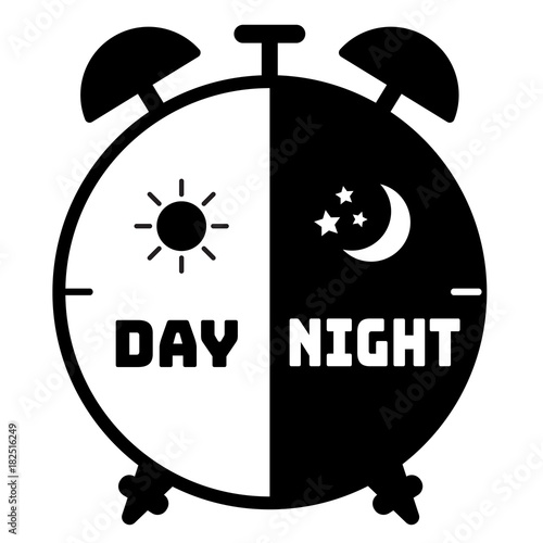 Photo silhouette clock icon on a white background  use for children alarm,24 hours ser