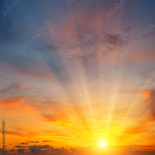 Poster Violet beautiful sunrise and cloudy sky