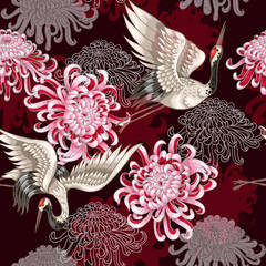 Fototapeta Japoński Seamless pattern with Japanese white cranes and chrysanthemums on a claret background for textile design