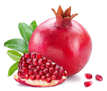 Ripe Pomegranate Fruits On The White Background.