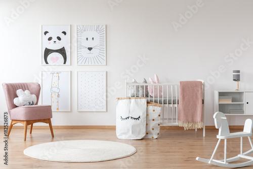 Fotografie, Obraz  Pink armchair in child's room
