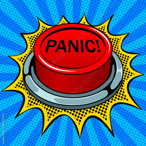 Fotografie, Tablou Panic red button pop art vector illustration