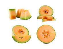 Cantaloupe Melon Slice Isolate...