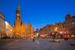 Market Square with old City Hall in Wroclaw at dusk, Poland.