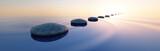Fototapeta Kamienie - Steine im See bei Sonnenaufgang Querformat 3:1