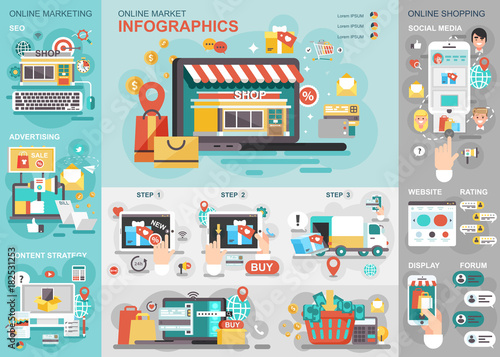 Online market flat infographic vector design template can be used online market flat infographic vector design template can be used for business process shopping wajeb Images