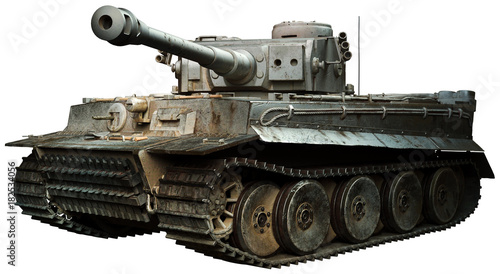 Tiger tank in steel grey Fotobehang