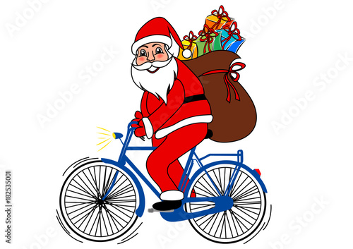 Immagini Babbo Natale In Bicicletta.Babbo Natale In Bicicletta Buy This Stock Illustration And