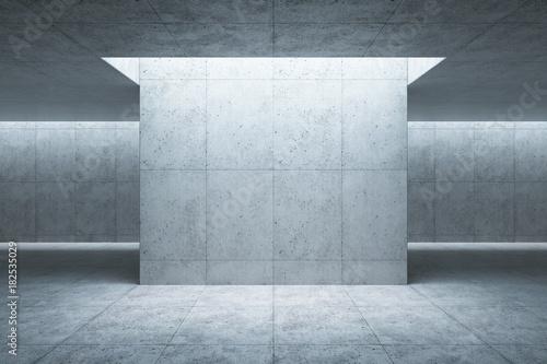 Obraz blank concrete space interior, 3d rendering - fototapety do salonu