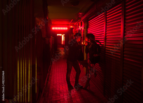 Fotografie, Tablou  red-light street
