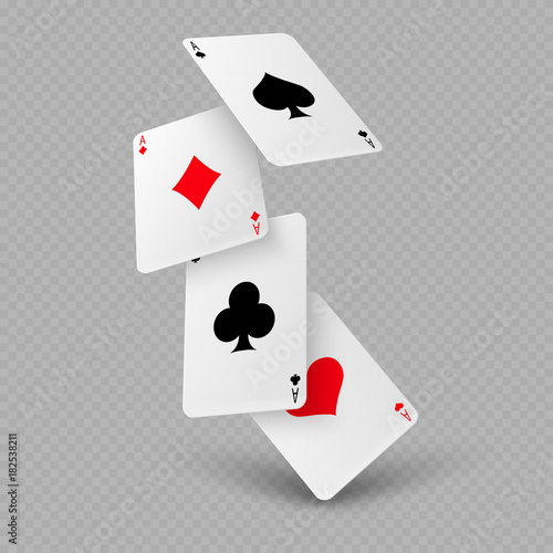 Fotografía Falling poker playing cards of aces