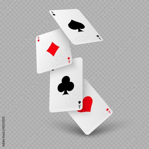 Falling poker playing cards of aces Fototapeta
