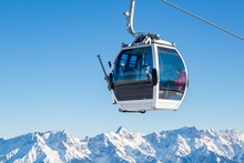 Cable Car In Ski Area In The Alps