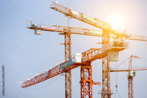 Fotografie, Obraz  Large construction site including several cranes working on a building complex