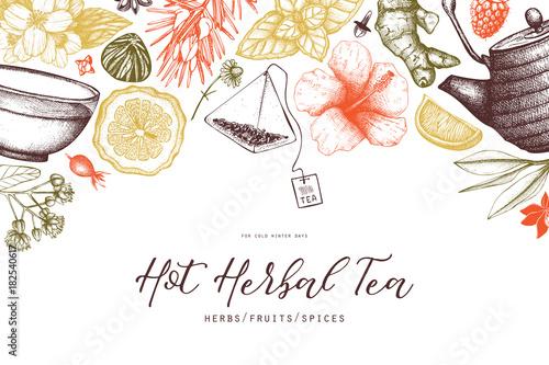 Fotografie, Obraz  Vector card design with hand drawn tea illustration