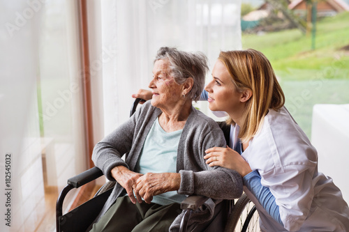 Obraz Health visitor and a senior woman during home visit. - fototapety do salonu