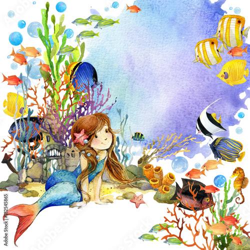 In de dag Kinderkamer hand-drawn illustration of watercolor animals of underwater world