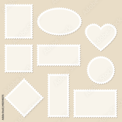 Photo  10 Blank Stamps White Frame Beige Background