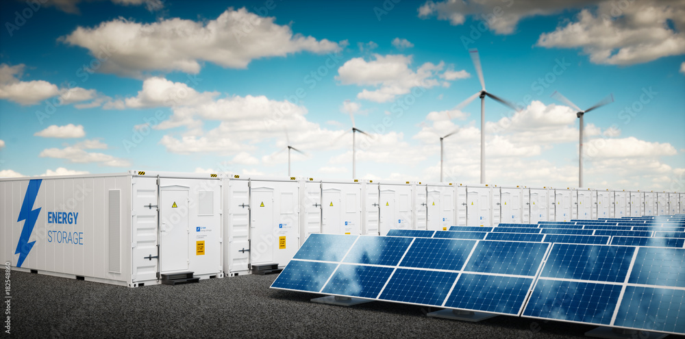 Fototapety, obrazy: Concept of energy storage system. Renewable energy power plants - photovoltaics, wind turbine farm and  battery container. 3d rendering.