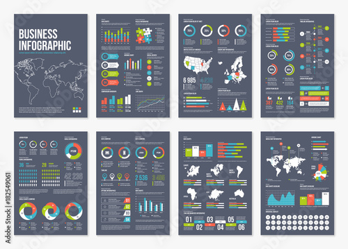 Photo  Vector infographic A4 brochure elements.