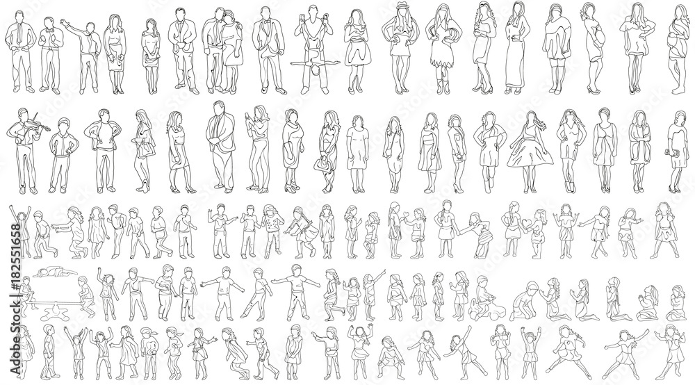 Fototapeta vector, isolated large set of people sketches, collection of outlines