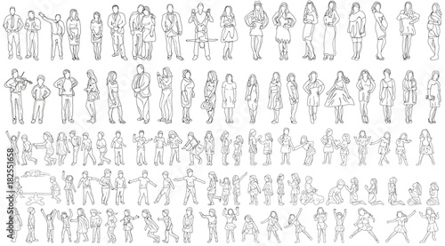 vector, isolated large set of people sketches, collection of outlines