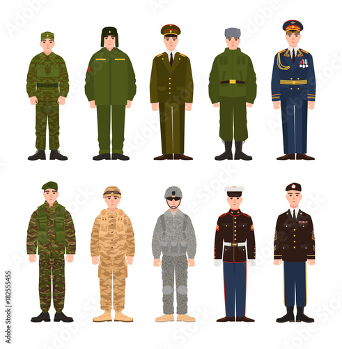 Slika na platnu Collection of Russian and American military people or personnel dressed in various uniform
